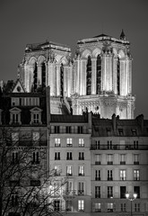 Illuminated towers of Notre Dame de Paris Cathedral at night