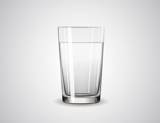 Realistic glass full of water. Isolated Illustration