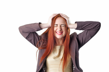 Young redhead business woman with headache