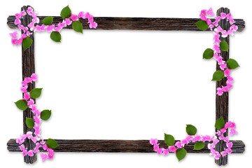 Design wooden photo frames with Bougainvillea flower branches is
