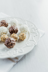 Chocolate Balls on white table