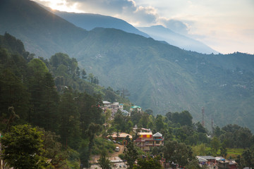 Sunrise over Dharamsala, India.