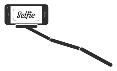 Monopod Selfie Portrait Smartphone App Vector Illustration