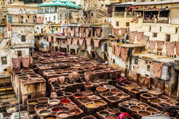 The Leather tannery in Fez Morocco