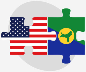 USA and Christmas Island Flags in puzzle