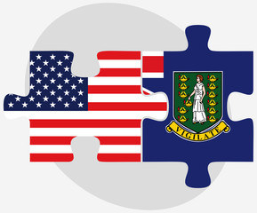 USA and British Virgin Islands Flags in puzzle