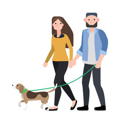 couple walking with their dog ,vector illustration