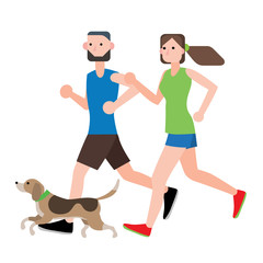 couple running with their dog vector illustration