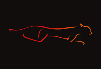 tiger (cheetah) runing logo vector illustration