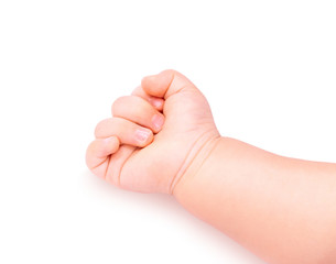 baby hand fist 9-12 month isolated in white background