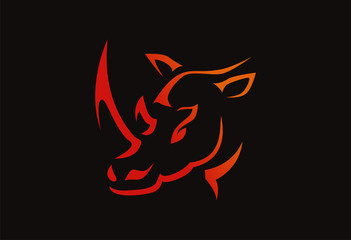 rhino logo vector red black background