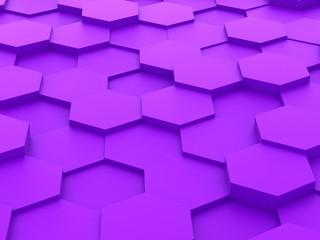background of 3d purple hexagon blocks