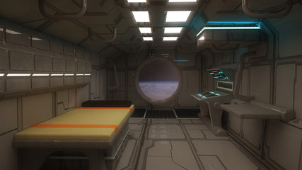 Futuristic scifi interior corridor