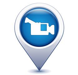 caméra sur marqueur géolocalisation bleu