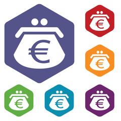 Euro purse rhombus icons