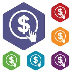 Dollar click rhombus icons
