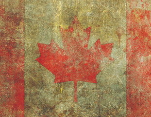 Grunge Canadian Flag Design Severly Faded and Damaged