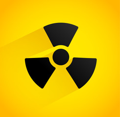 Background with radiation symbol (shadow with opacity mask, no b
