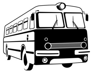 Vector image of retro bus contour