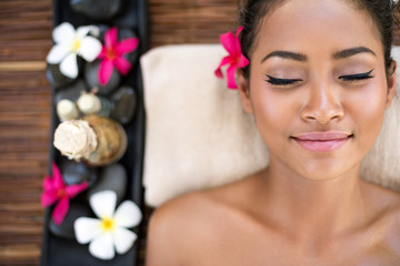 Serene beautiful spa woman relaxing