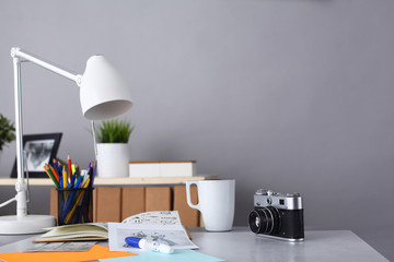 Designer's table with notes and tools