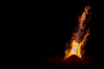 Burning guitar.