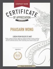modern thai art certificate design template.