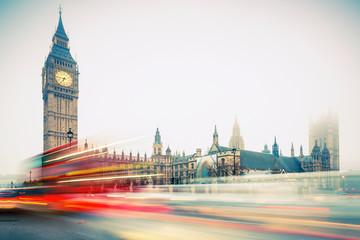 Foto op Aluminium Londen rode bus Big Ben and double-decker bus, London