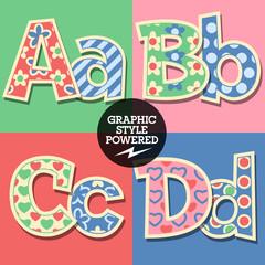 Vector set of cute colorful children font