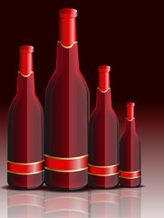 Red Champagne Bottles Vector Set