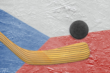 Hockey puck, stick and Czech flag