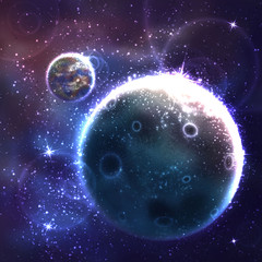 Vector space background with unknown planet