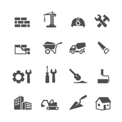 Construction Icons Set on White Background. Vector illustration