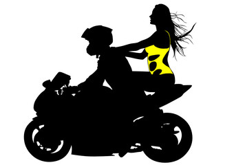 Wall Mural - Biker baeuty girl