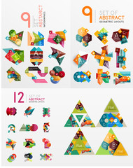 Mega collection of paper graphic banners, labels