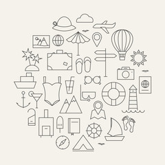 Summer Holiday Line Travel Icons Set Circular Shaped