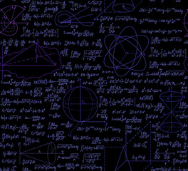 Math vector seamless with formulas, figures and calculations
