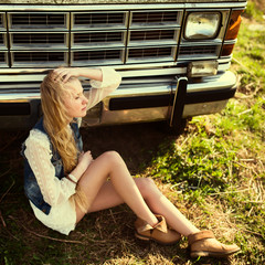 beautiful hipster girl and American car