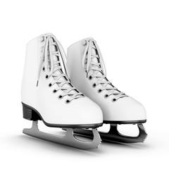 Figure skates on a white