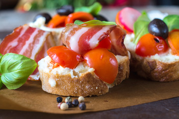 Close up to bruschetta
