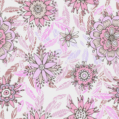 Seamless floral pattern in cartoon stile