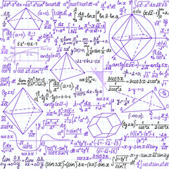 Math vector seamless pattern with plots, figures and formulas