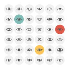 Eye icons set. Vector Illustration.