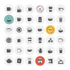 Coffee icons set. Vector Illustration.