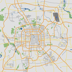 Highly Detailed Beijing City Road Network Map