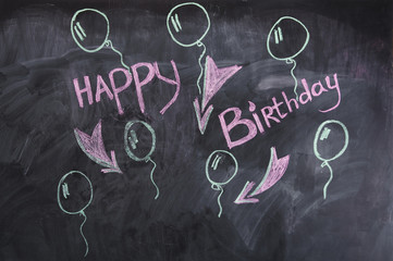 """The words """"Happy birthday"""" on the chalkboard"""