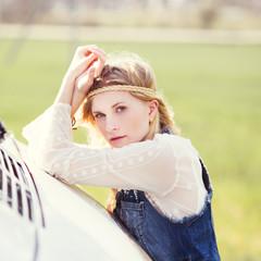 portrait of a beautiful hipster girl closeup