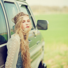 beautiful girl hipster spring