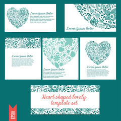 Heart shaped lovely template vector set