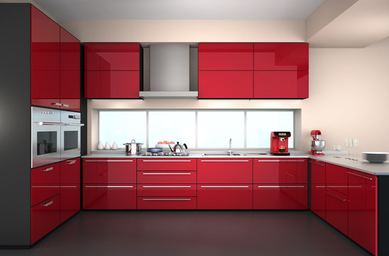 Modern kitchen interior in red color theme.